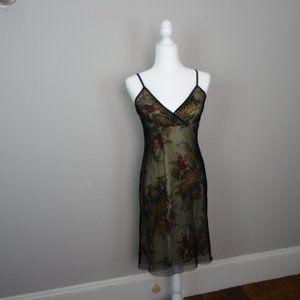 Women's Midi Glitter Fishnet dress Floral size Med